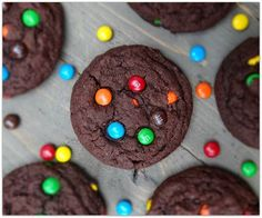 Soft and Chewy Double Chocolate M&M Cookies. Use Cherry M&Ms Cookie Desserts, Cookie Bars, Cookie Recipes, Dessert Recipes, Sweet Desserts, Dessert Ideas, Yummy Treats, Delicious Desserts, Sweet Treats