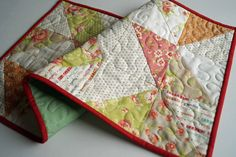 Quilted Table Runner or Wall Hanging in Retro Fabrics - Quiltsy Handmade by MyBitOfWonder on Etsy https://www.etsy.com/listing/467603430/quilted-table-runner-or-wall-hanging-in