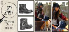 Ecco la showgirl #MelissaSatta in un negozio monomarca #Ash, mentre acquista i #boots di pelle nera Trick!
