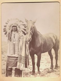 CHIEF & HORSE Original 1890s Sioux Native American
