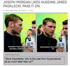 Joseph Morgan and Jared Padalecki. Supernatural and The Vampire Diaries / The Originals cast