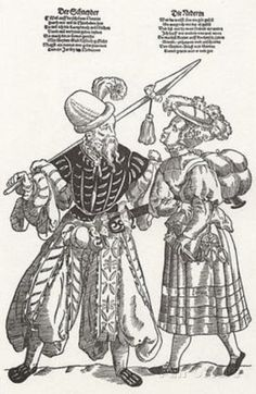 This seems to be another pull on lower sleeve, with the hemd pouf at the top. These would be easy to pull on when cold (especially with the collar covering the upper arm) and to pull off when it's time to work. Renaissance Image, 16th Century Clothing, Tudor Costumes, German Outfit, Landsknecht, German Women, German Fashion, Period Outfit, Historical Clothing