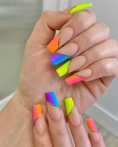 Rainbow Nails, Neon Nails, Swag Nails, Ombre Nail Designs, Acrylic Nail Designs, Nail Art Designs, Stylish Nails, Trendy Nails, Glitter Accent Nails