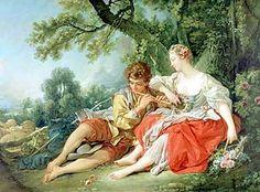 Boucher, Shepherd piping to a Shepherdess c1750