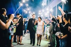 Sparkler Wedding Exit - Blue and White Downtown Tampa Waterfront Florida Destination Wedding - Tampa Wedding Photographer Angel He Photography - Marry Me Tampa Bay Wedding Blog