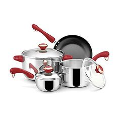 Paula Deen Stainless Steel Red Handle 7-piece Cookware Set -- To view further for this item, visit the image link.