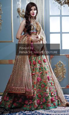 25 Trendy Lehenga designs for Navratri & Garba 2019 - Buy lehenga choli online Indian Bridal Outfits, Indian Bridal Fashion, Indian Bridal Wear, Pakistani Wedding Dresses, Bridal Dresses, Pakistani Bridal, Indian Dresses, Wedding Gowns, Designer Bridal Lehenga