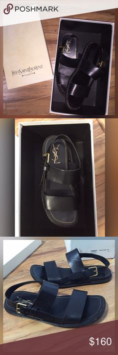 YVES Saint Laurent YSL Black Leather Sandals w/Box Beautiful black leather YVES SAINT LAURENT rive gauche Bivouac Strappy sandals Apache Nero. Comes with original box.                              * please pay attention to the photos which show accurate condition. The sandals are worn and being sold as is. Size European 42 Yves Saint Laurent Shoes Sandals & Flip-Flops