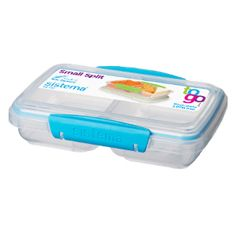 Keep food fresher for longer and easily contained with the practical Storage Container from Sistema. With this brilliant storage box you can easily carry food without it spoiling.  The lid features easy to use clips with an inner seal to keep the container sealed tight, ensuring your food can be stored for longer. The two handy compartments allows you to separate your food, so you can take your favourite snacks with you to work or school. This brilliant little box is perfect for lunches and snac Buy Kitchen, Kitchen Items, Kitchen Gadgets, Plastic Containers, Food Storage Containers, Lunch Box With Compartments, Toothbrush Storage, Things I Need To Buy, Stuff To Buy