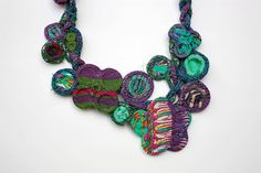 Handmade knitted necklace with bamboo and textile by rRradionica, $87.00