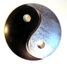 Vintage Yin und Yang schwarz silber Pulverbeschichtetes Metall Wanddekoration f r innen und au en