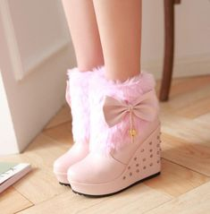 Winter Womens Warm Wedge Heels Snow Ankle Boots Bow Rivets Platform Shoe Sz J High Heel Boots, Heeled Boots, Shoe Boots, High Heels, Unique Shoes, Cute Shoes, Fairy Shoes, Furry Boots, Ankle Snow Boots