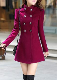 Wine Red Gold Button Front Military Style Slim Fit Coat. More Colors (Red, Royal Blue, Army Green, Wine Red) For Choose