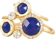 Gold plated stackable rings with crystals & epoxy stones. 5-piece set.