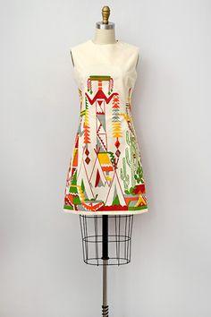 '60s Mod Tribal Print Dress