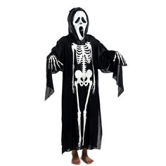 Halloween Skull Skeleton Ghost Clothes & Screaming Ghost Mask Masquerade Costume Cosplay Props Set For Adults  #Affiliate