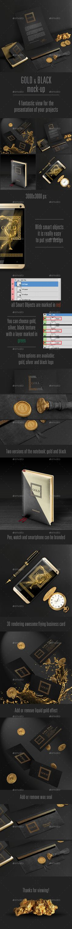 Gold and Black Stationary / Branding Mock-Up