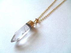 Crystal Point Necklace Clear Quartz Gemstone by IyanaDesigns