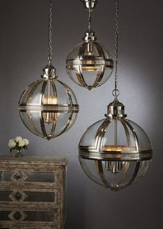 SAXON PENDANT LAMP IN S. NICKLE LARGE - CEILING LAMPS