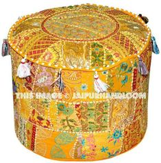 Pouf Ottoman - Great Selection of Ottomans Seat Covers For Chairs, Stool Covers, Bean Bag Living Room, Pouf Footstool, Round Floor Pillow, Ottoman Cover, Patchwork Patterns, Floor Cushions, Throw Cushions