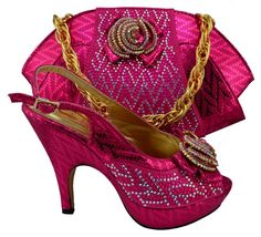 64.68$  Buy here  - Hot sale Italian style shoes matching with bags with rhinestone fuchsia shoes and bag sets for party !HQJ1-12