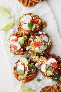 Chicken Chorizo Spicy Waffle Tostadas - The Candid Appetite - Onion, Garlic, Guajillo, ACV, Ancho, Cornmeal, Buttermilk, Maple Syrup, Jalapeno, TOPPINGS
