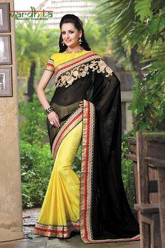 Yellow & black color semi georgette + chiffon jacquard fabric designer saree  http://www.vardhita.co.uk/product/yellow-black-color-semi-georgette-chiffon-jacquard-saree-70-0053/