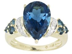 Barehipani Topaz 5.72ctw Pear Shape And Round With Diamond Accent 10k Yellow Gold Ring