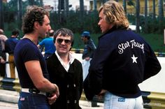 James Hunt with Jochen Mass and Bernie Ecclestone during the 1977 Brazilian Grand Prix weekend at Interlagos