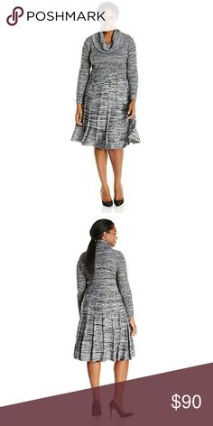 Calvin Klein Cowl Fit & Flare Calvin Klein's need-now sweater dress features an oversized cowl neck for a cozy-chic vibe. Pair this space-dyed essential with ankle booties.Cowl neckline. Pullover style. Long sleeves. Space-dyed knit throughout; vertical stripes at skirt. A-line silhouette. Not lined. Calvin Klein Dresses