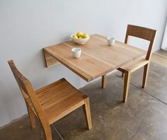 The surprising Stylish Wall Mounted Breakfast Nook Table In Wood Small Dining Furniture Small Dining, Dining Area, Dining Room, Dining Sets, Dining Tables, Solid Wood Furniture, Furniture Design, Dining Furniture, Plywood Furniture
