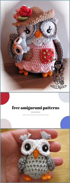 Amigurumi Mom Owl with Baby Owl Free Crochet Pattern - Amigurumi Patterns Pic2re Owl Crochet Patterns, Owl Patterns, Amigurumi Patterns, Crochet Dolls, Crochet Hats, Crocheted Toys, Owl Legs, Baby Owls, Stuffed Animal Patterns