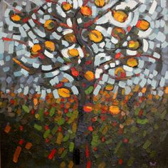 Anna Wolska - Orange tree, 2012, impasto abstract painting, 100x100cm, oil on board [sold]