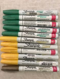 Sharpie Colors, Sharpie Pens, Markers, Oil, Artists, Lettering, Yellow, Green, Painting