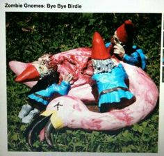 Halloween Decorations Ideas: A mash-up between garden gnomes and zombies? Yeah, we need these zombie garden gnomes for our lawn, as they'll make the perfect Halloween decoration. Zombies, Samhain, Bye Bye Birdie, The Rocky Horror Picture Show, Zombie Walk, Zombie Zombie, Zombie Life, Zombie Vampire, Dead Zombie
