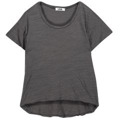 LNA - Hand Me Down Slub Stretch-jersey T-shirt (600 ZAR) ❤ liked on Polyvore featuring tops, t-shirts, dark gray, distressed top, stretch jersey, relax t shirt, lna t shirts and relaxed fit tee
