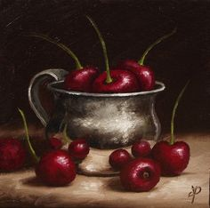 Cherries in Silver Cup Original Oil Painting by JanePalmerArt