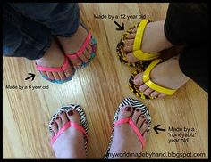 My World - Made By Hand: Duct Tape Flip Flops {tutorial} ~ I really like this and the instructions are very clear! The flip flops in the pic were made by kids years old (and one by a nonayourbiz year old)! Duct Tape Projects, Duck Tape Crafts, Diy Craft Projects, Craft Ideas, Cute Crafts, Crafts For Kids, Kids Diy, Summer Crafts, Just For Gags