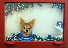 Pet Portrait Chihuahua Winter Window Painting Dog Art by petzoup, $100.00