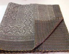 Kantha Vintage Look Hand Block Printed Ajrak Print Classical Exclusive Throw, Ralli Throw , Kantha Bed Spreads , Kantha coverlet