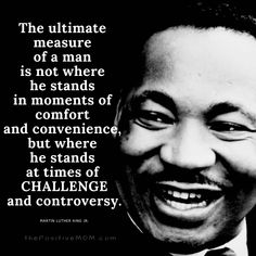 """The ultimate measure of a man is not where he stands in moments of comfort and convenience, but where he stands at times of CHALLENGE and controversy."" ~ Martin Luther King, Jr."