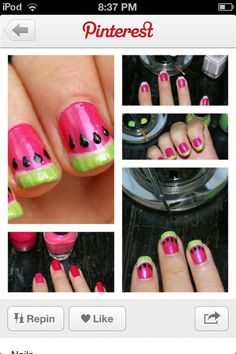 Watermelon nails summer
