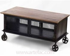 Vintage Industrial Furniture :: Coffee Table with Stool Storage on The Wheels DJ-1987 - ARTeFAC