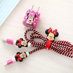 Girls Favorite Cartoon USB Cable Earphone Protector Set with Cable Winder stickers Spiral Cord protector For iphone 5 6 6s
