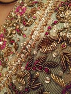 SuperSummer's Distractions: Farah Talib Aziz - Zardosi Embroidery, Tambour Embroidery, Bead Embroidery Patterns, Hand Work Embroidery, Couture Embroidery, Indian Embroidery, Embroidery Fashion, Hand Embroidery Designs, Embroidery Stitches