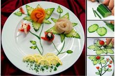 from slices of cucumber Buffets, Food Garnishes, Fruit Plate, Plastic Cutting Board, Sushi, Veggies, Plates, Ethnic Recipes, Kitchen