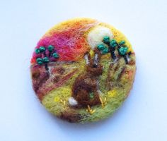Needle felted brooch 'Grazing at Sunrise ' bunny by iwantcraft