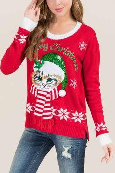 Meowy Christmas Light Up Sweater