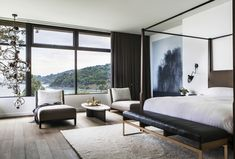 Image 33 of 34 from gallery of Tiburon Bay View / Walker Warner Architects. Courtesy of Walker Warner Architects Home Decor Bedroom, Modern Bedroom, Master Bedroom, Bedroom Bed, Bedroom Lamps, Wall Lamps, Bedroom Ideas, Bedroom Lighting, Design Bedroom