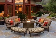 The Ravello Crescent Seating and Ottoman Benches introduces fun new curved combinations into the design mix.  These modular pieces were specifically designed for flexible arrangements around fire pits and tables.